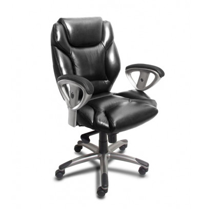 Mayline Ultimo UL330M Synchro-Tilt Genuine Leather Mid-Back Executive Office Chair. Shown in Black