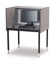 Smith Carrel Height Adjustable Computer Carrel (Shown in Grey/Black - Computer Components Not Included)