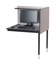 Smith Carrel Height Adjustable Computer Carrel, Add-on (Shown in Grey/Black - Computer Components Not Included)