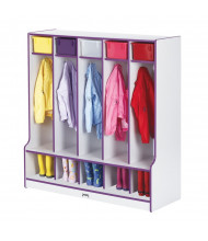 Jonti-Craft Rainbow Accents 5-Section Cubbie Coat Locker with Step (Shown in Purple)