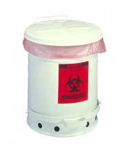 Justrite 05910 Foot-Operated 6 Gallon Biohazard Waste Safety Can, White