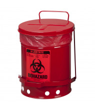 Justrite 05910R Foot-Operated 6 Gallon Biohazard Waste Safety Can, Red