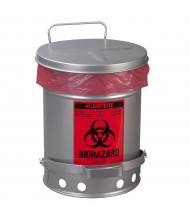 Justrite 05914 Foot-Operated Soundgard 6 Gallon Biohazard Waste Safety Can, Silver