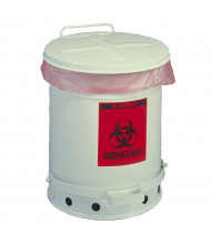 Justrite 05915 Foot-Operated Soundgard 6 Gallon Biohazard Waste Safety Can, White