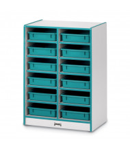 Jonti-Craft Rainbow Accents 12 Paper-Tray Mobile Classroom Storage (teal, trays sold separately)