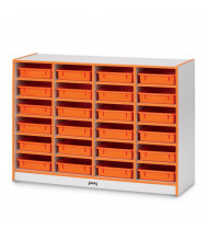 Jonti-Craft Rainbow Accents 24 Paper-Tray Mobile Classroom Storage with Paper-Trays (orange)