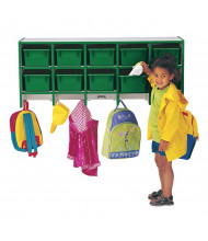 Jonti-Craft Rainbow Accents 10-Section Wall Mount Cubbie Coat Locker (Shown in Green, tubs not included)