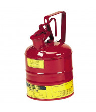 Justrite 10301 Type I 1 Gallon Trigger Handle Steel Safety Can, Red