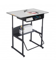 """Safco AlphaBetter 1209GR 36"""" x 24"""" Premium Height Adjustable Stand-Up Book Box Student Desk (example of use)"""