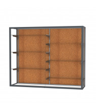 "Waddell Champion 12405 Series Wall Mountable Display Case 60""W x 48""H x 16""D (Shown in Cork/Satin Natural)"