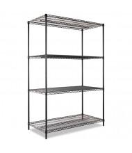 "Alera SW504824BL 48"" W x 24"" D x 72"" H 4-Shelf Wire Shelving Unit, Black"