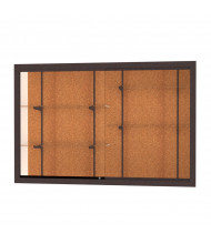 "Waddell Harbor 14406 Series Recessed Wall Display Case 72""W x 48""H x 16""D (Shown in cork back/dark bronze)"