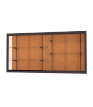 "Waddell Harbor 14408 Series Recessed Wall Display Case 96""W x 48""H x 16""D (Shown in cork back/dark bronze)"