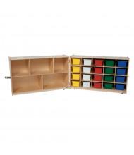 "Wood Designs Childrens Classroom Half & Half Folding Storage with Assorted Trays, 30"" H x 96"" W x 15"" D"