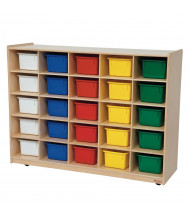 Wood Designs 25 Cubbie Tray Classroom Storage with Assorted Cubbie Trays