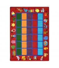 Joy Carpets Alphabet Phonics Rectangle Classroom Rug, Red