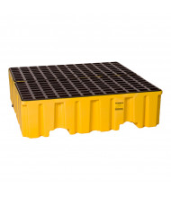 "Eagle 4-Drum 52.5"" W x 51"" L Spill Containment Pallet, 132 Gallons (in yellow with drain)"