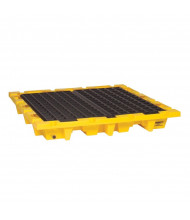 "Eagle 1646 4-Drum Nestable 58.5"" W x 58.5"" L Spill Containment Pallet with Drain, 66 Gallons, Yellow"