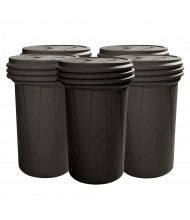 Eagle Lab Pack Screw Lid Poly Drum, 55 Gallons, Black, 5-Pack