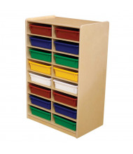"""Wood Designs Childrens Classroom 16-Cubby Art Storage Unit with 3"""" Letter Trays, 38"""" H x 24"""" W x 15"""" D (Shown with Assorted Trays)"""
