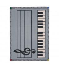 Joy Carpets Play Along Classroom Rug, Grey with Keys