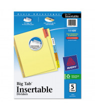 """Avery WorkSaver Big Mulitcolor 5-Tab 8-1/2"""" x 11"""" Insertable Dividers, Buff, 1 Set"""
