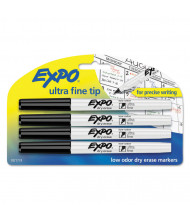 Expo Low-Odor Dry Erase Marker, Ultra Fine Point, Black, 4-Pack