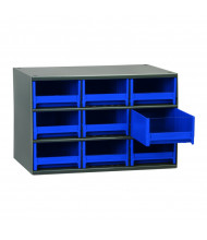 """Akro-Mils 11"""" D 19-Series Steel Drawer Cabinet Unit with Drawer Bins (Shown with 9 Blue Bins)"""