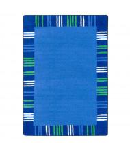 Joy Carpets Seeing Stripes Rectangle Classroom Rug, Seaglass