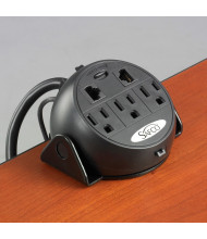 Safco 3-Power Outlet and 2-Ethernet Port Tabletop Clamp-On Power Module