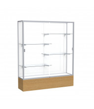 """Waddell Reliant 2075 Series Floor Display Case 60""""W x 72""""H x 16""""D (Shown in Light Oak/White Laminate/Satin Natural)"""