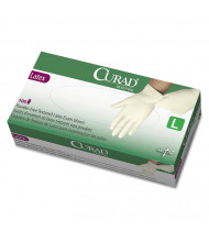 Curad Large Powder-Free Latex Exam Gloves, White, 100/Box