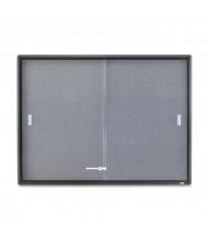 Quartet 2364S Indoor 2 Sliding Door 4 ft. x 3 ft. Graphite Frame Enclosed Fabric Bulletin Board