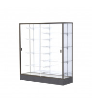 "Waddell Colossus 2605 Series Aluminum Frame Black Base Floor Display Case 60"" W x 66""H x 20""D (Shown in White Laminate / Dark Bronze)"