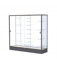 "Waddell Colossus 2606 Series Aluminum Frame Black Base Floor Display Case 72"" W x 66""H x 20""D (Shown in White Laminate/Dark Bronze)"