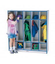Jonti-Craft Rainbow Accents 5-Section Cubbie Coat Locker (Shown with Blue Edging)