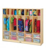 Jonti-Craft Large 5-Section Cubbie Coat Locker Organizer, 10 Clear Tubs