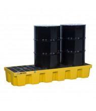 "Just-Rite Ecopolyblend 3-Drum 73"" W x 25"" L Spill Control Pallet, 75 Gallons, Yellow"