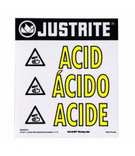 Just-Rite Haz-Alert 29006 Acid Large Earning Label for Safety Cabinet