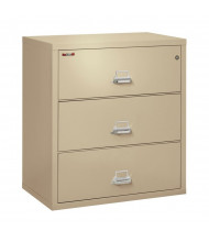 """FireKing 3-Drawer 38"""" Wide 1-Hour Rated Lateral Fireproof File Cabinet - Shown in Parchment"""