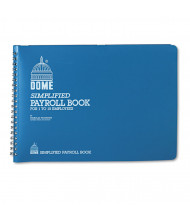 "Dome 7-1/2"" x 10-1/2"" 128-Page Simplified Payroll Record Book, Light Blue Vinyl Cover"