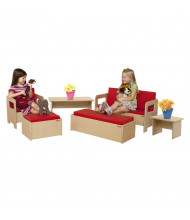 Wood Designs Classroom Seating Set with Tables (Shown in Red)