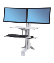 Ergotron WorkFit-S 33349211 Sit-Stand Workstation Worksurface+ with Dual Monitors, White