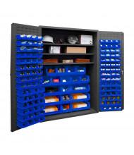 Durham Steel 3-Shelf Bin Storage Cabinet, 138 Hook-On Bins (Shown in Blue)