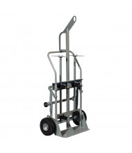 "Justrite 600 lb Hoist Ring Double Cylinder Hand Truck, 10.5"" Pneumatic & Rear Casters"