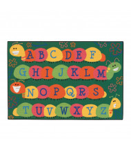 Carpets for Kids Caterpillar Friends Rectangle Classroom Rug, Green