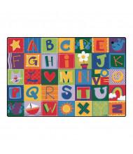 Carpets for Kids Toddler Alphabet Blocks Rectangle Classroom Rug, Primary