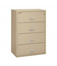 """FireKing 4-Drawer 38"""" Wide 1-Hour Rated Lateral Fireproof File Cabinet - Shown in Parchment"""