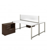 "Bush 72"" W x 30"" D 2-Person Office Desk Set with Piler Filer Cabinets, White/Mocha Cherry"