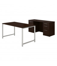 "BBF 400 Series 60"" W Table Desk Office Desk Set with Double Pedestal Credenza, Mocha Cherry"